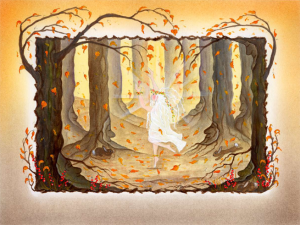 Illustration of Rosabella Dancing in the Autumnal forest from page 25 of the book