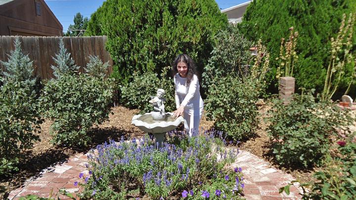 Photo Of Gabriele Near Her Bird Bath